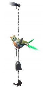 Feathered tail bird mobile windchime (green)